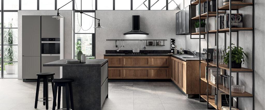 luxury modern wood kitchen and island
