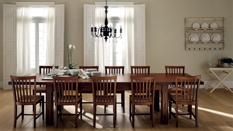 Large wooden family dining table